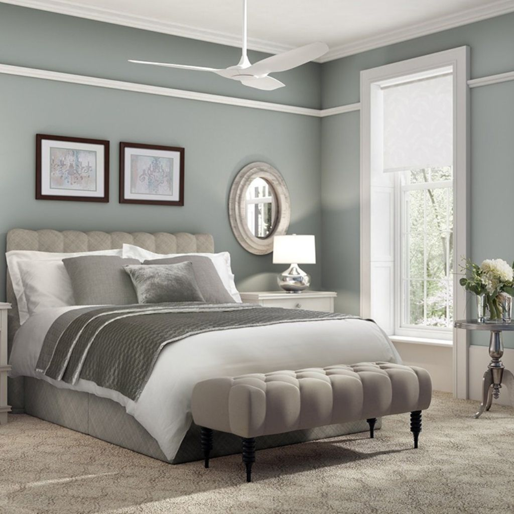 White Ceiling Fan For Master Bedroom With Elegant Tufted