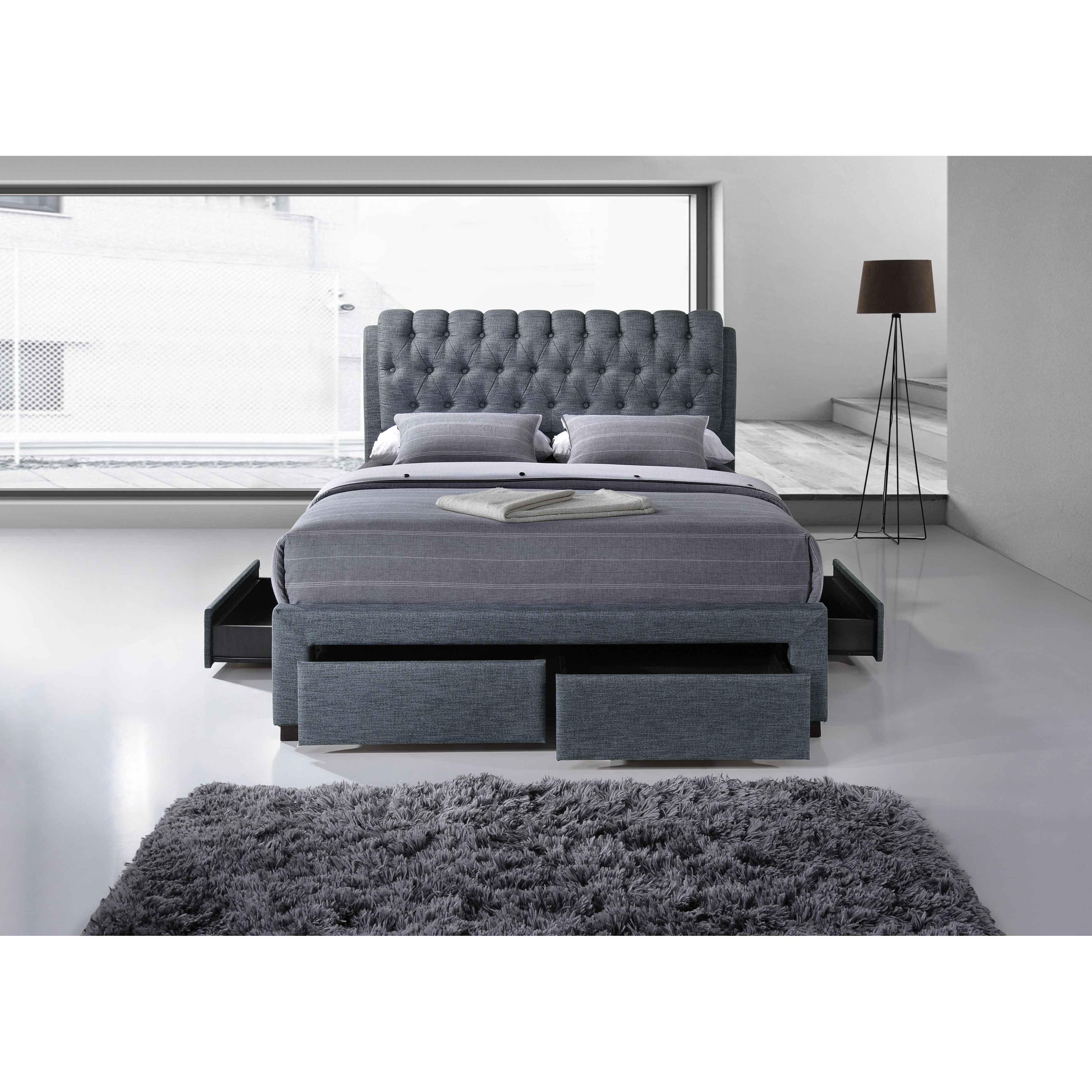 Castleton Home Fabric 4 Draw Front And Side Upholstered Storage Bed