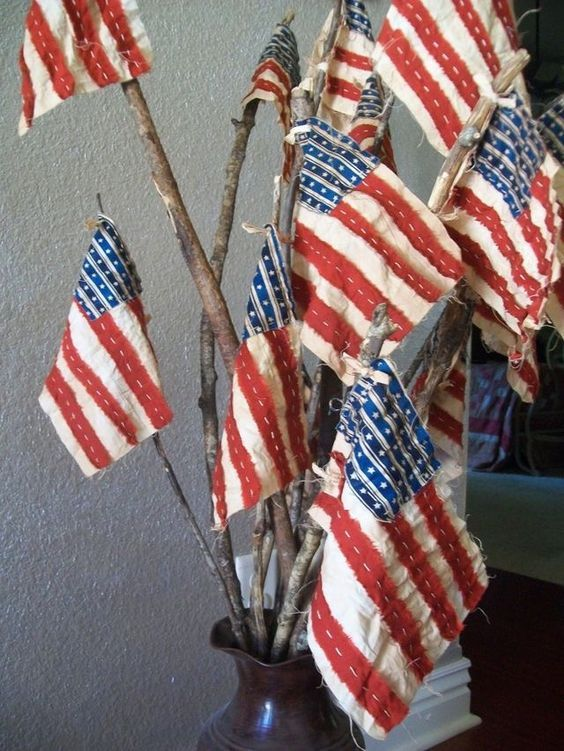 Handmade * Patriotic Small  Stick Parade Flags * She's a Grand Old Flag * USA Proud * Red, White & Blue * DIY Inspiration! * 4th of July Fab!