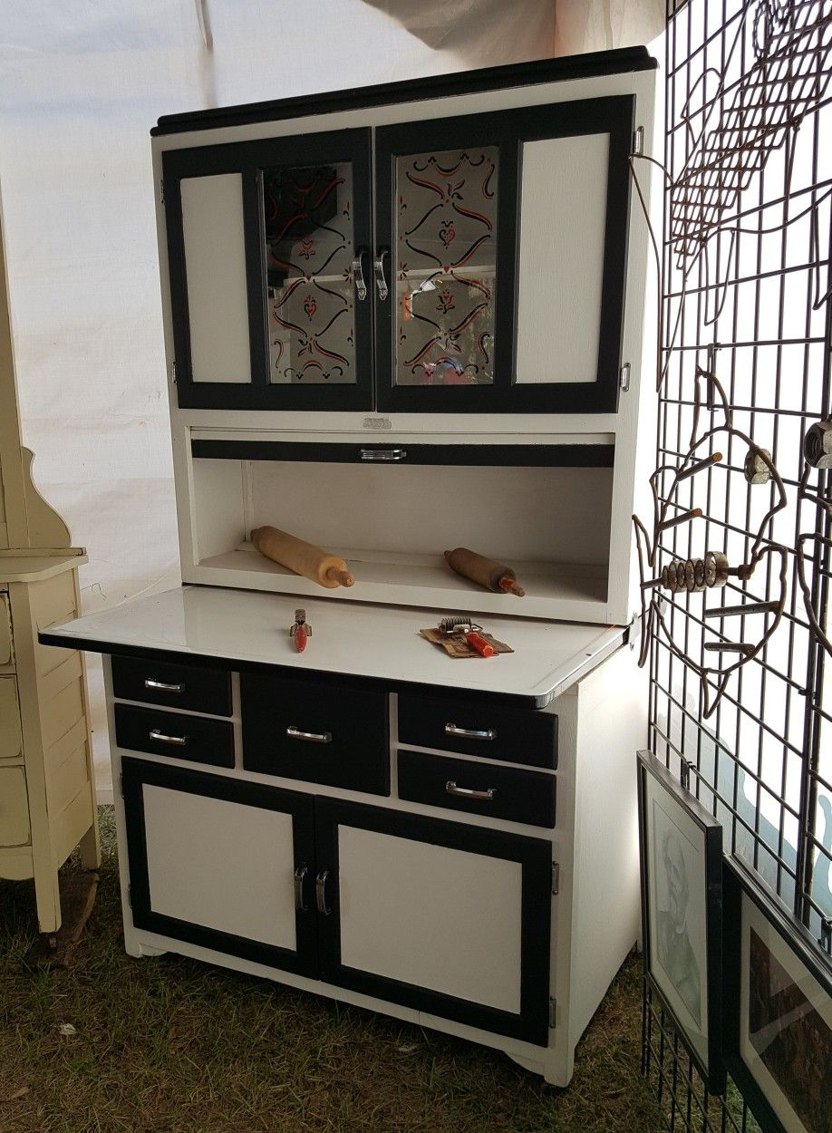 White And Black Hoosier Style Cabinet Hoosier Cabinets Black Painted Furniture Cabinet