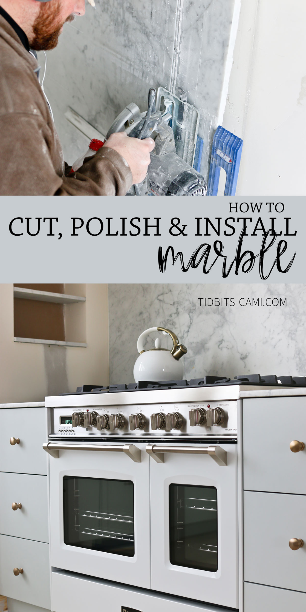 How to cut, hone and install marble yourself! Get the look for less! #marble #marblecountertops #camitidbits #cutmarble #kitchendesign #diycountertops