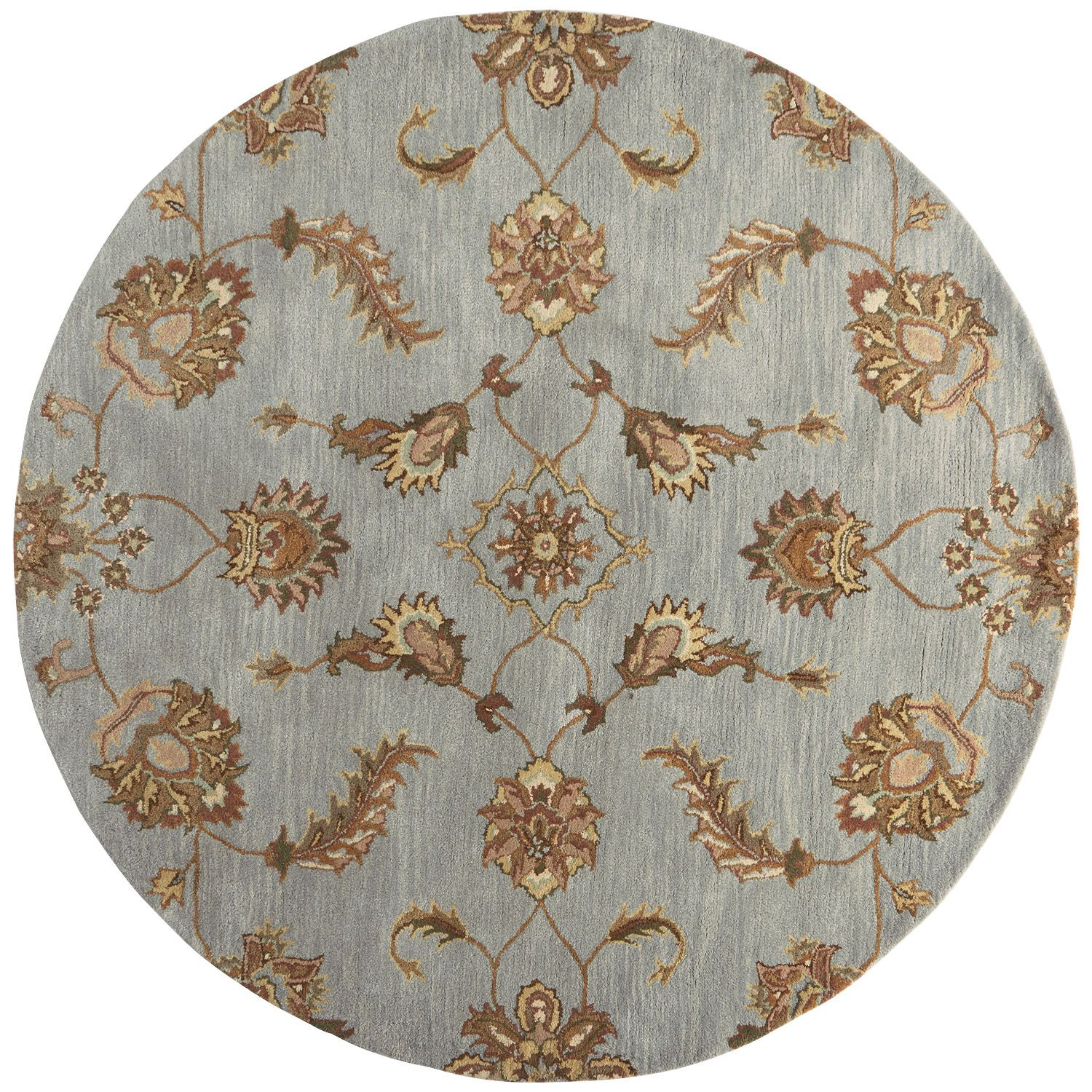 Blue Tufted Wool Rug - 8 Ft Round