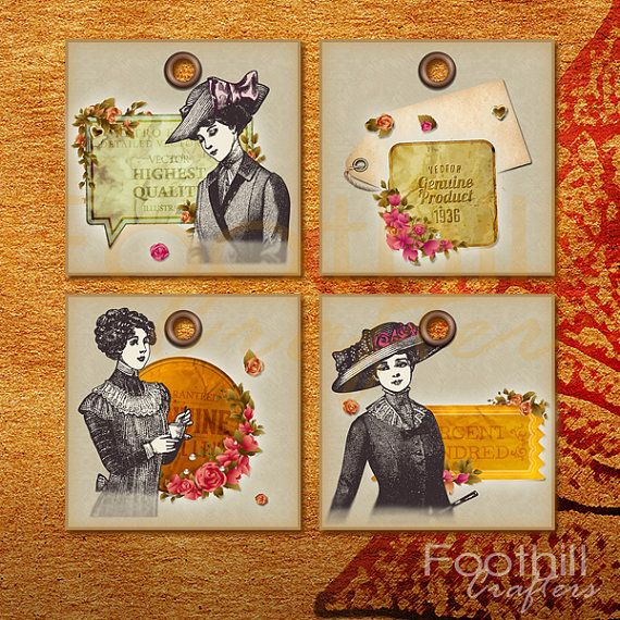 INSTANT DOWNLOAD   9 Elegant Vintage Lady Gift by FoothillCrafters, $3.50 #printabletags #diyhangtags #gift_tags #vintagetags #elegantlady #vintagelabels #productlabels #foothillcrafters #etsy