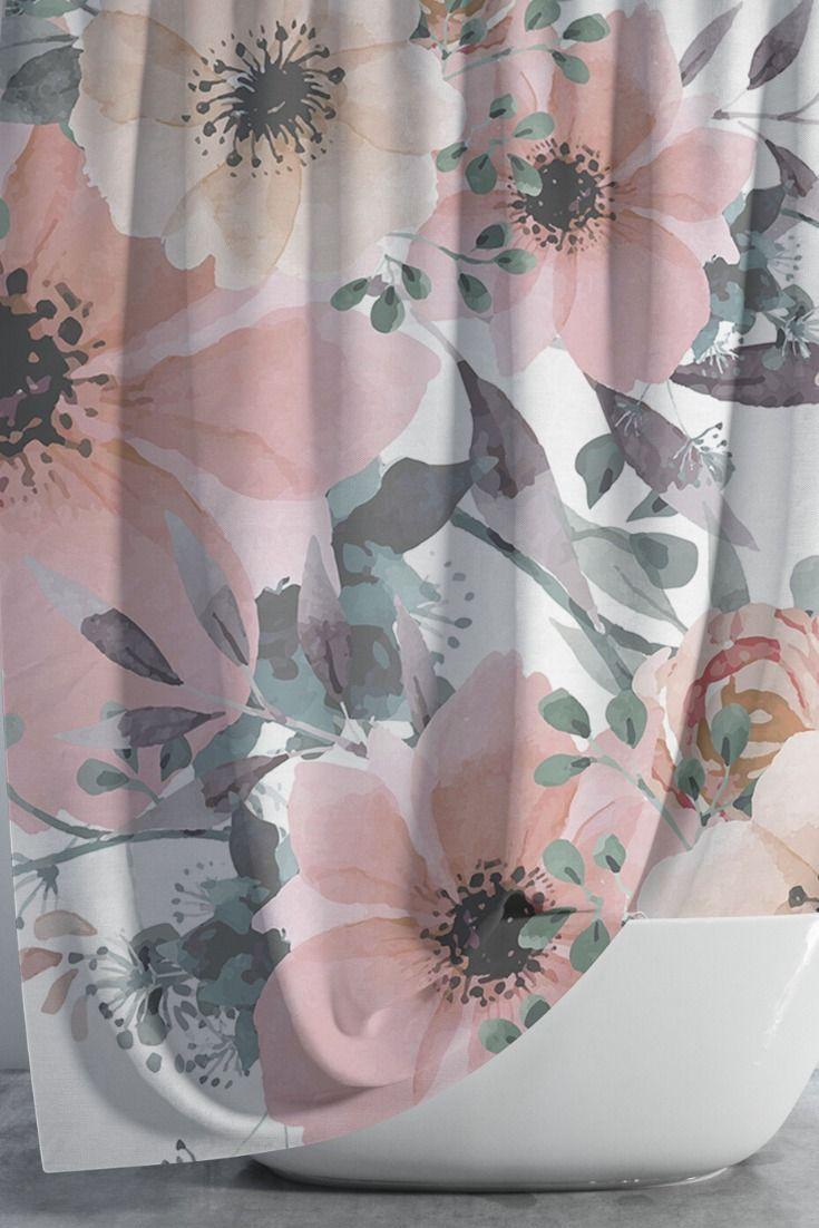 Shower Curtain Sets Floral Shower Curtain Etsy In 2020 Floral Shower Curtains Pretty Bathrooms Beautiful Bathroom Decor