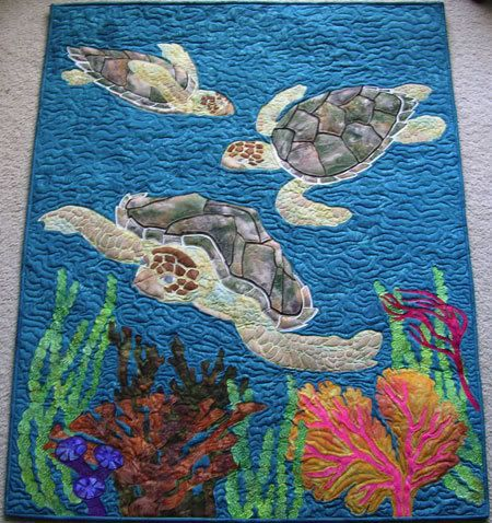 Quilt Patterns With Turtles : Sea Turtle Quilt Sea turtle quilts, Turtle quilt and Hanging art