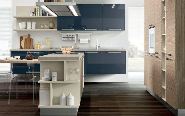Cucina moderna su due lati con isola - Composizione 0466 - Vista ...