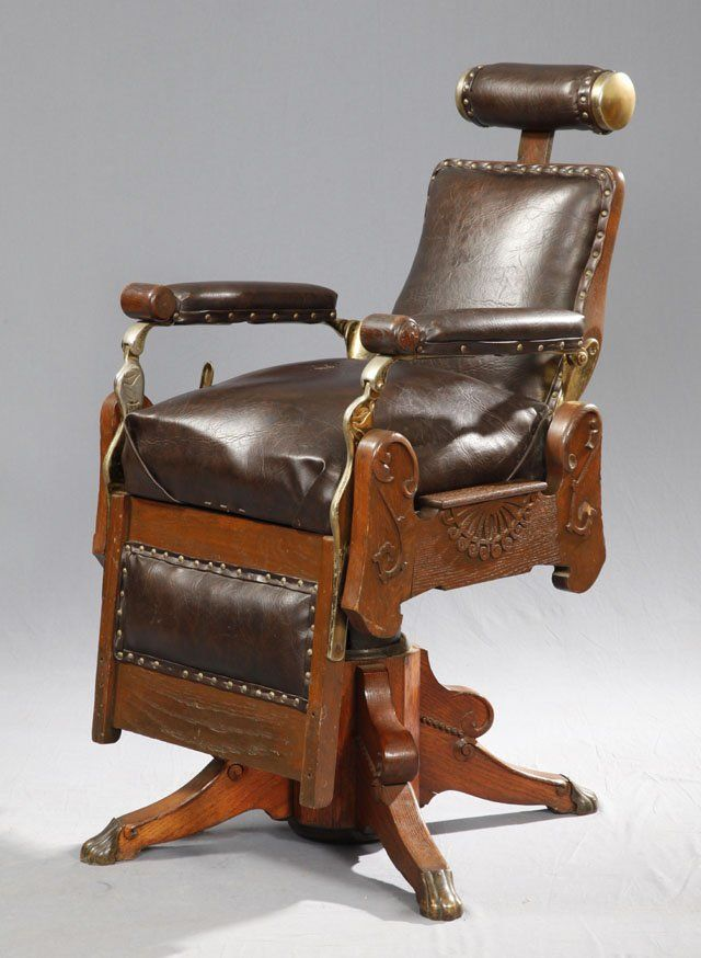 Carved Oak Barber Chair, 19th c with four cabriole legs with brass paw feet - Carved Oak Barber Chair, 19th C With Four Cabriole Legs With Brass
