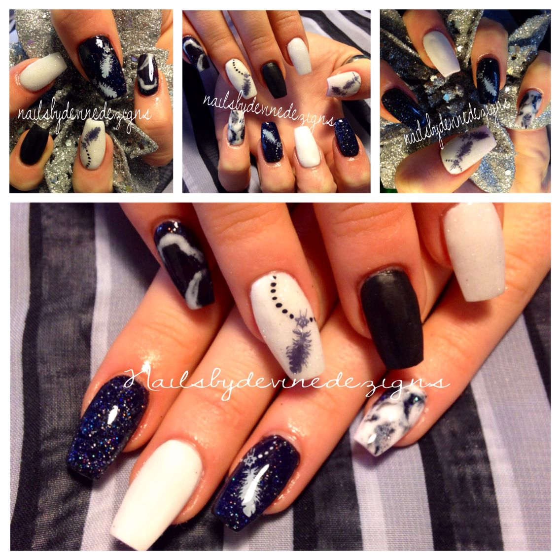 Black and white nails. Acrylic nails. notpolish ballerina