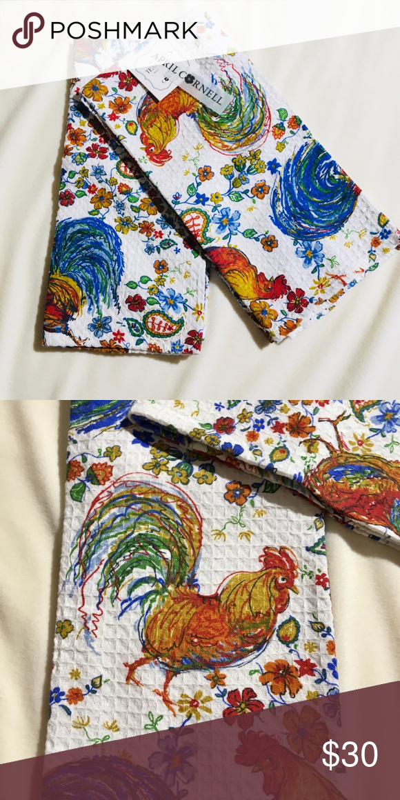 Nwt April Cornel Rooster Kitchen Towel Set In 2020 Rooster Kitchen Towel Kitchen Towel Set Towel Set