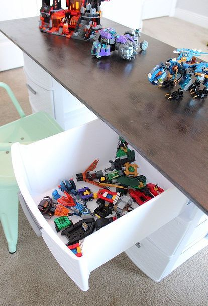 32 Space Saving Storage Ideas That Ll Keep Your Home Organized Lego Storage Lego Table Diy Kids Table With Storage