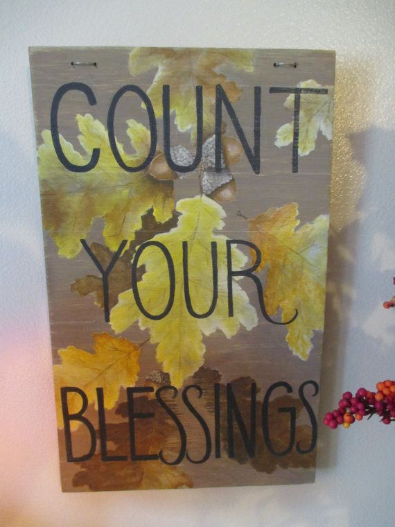 Count Your Blessings Sign Hand Painted Wooden Sign by SeadogSigns