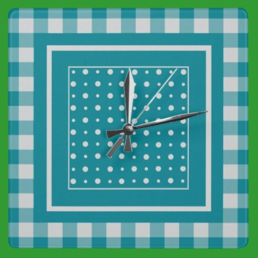 Stylish Square Wall Clock, Teal Check Gingham