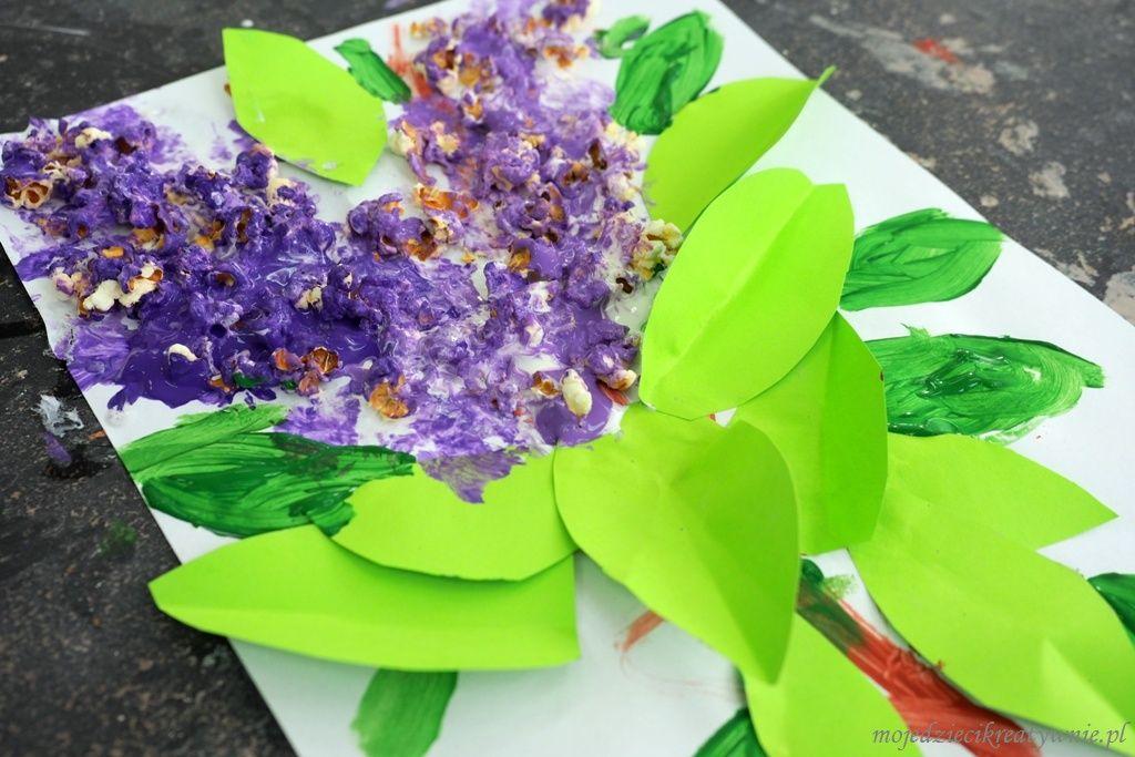 Kwiaty Bzu Z Popcornu Praca Plastyczna Na Wiosne Moje Dzieci Kreatywnie Crafts Arts And Crafts Diy