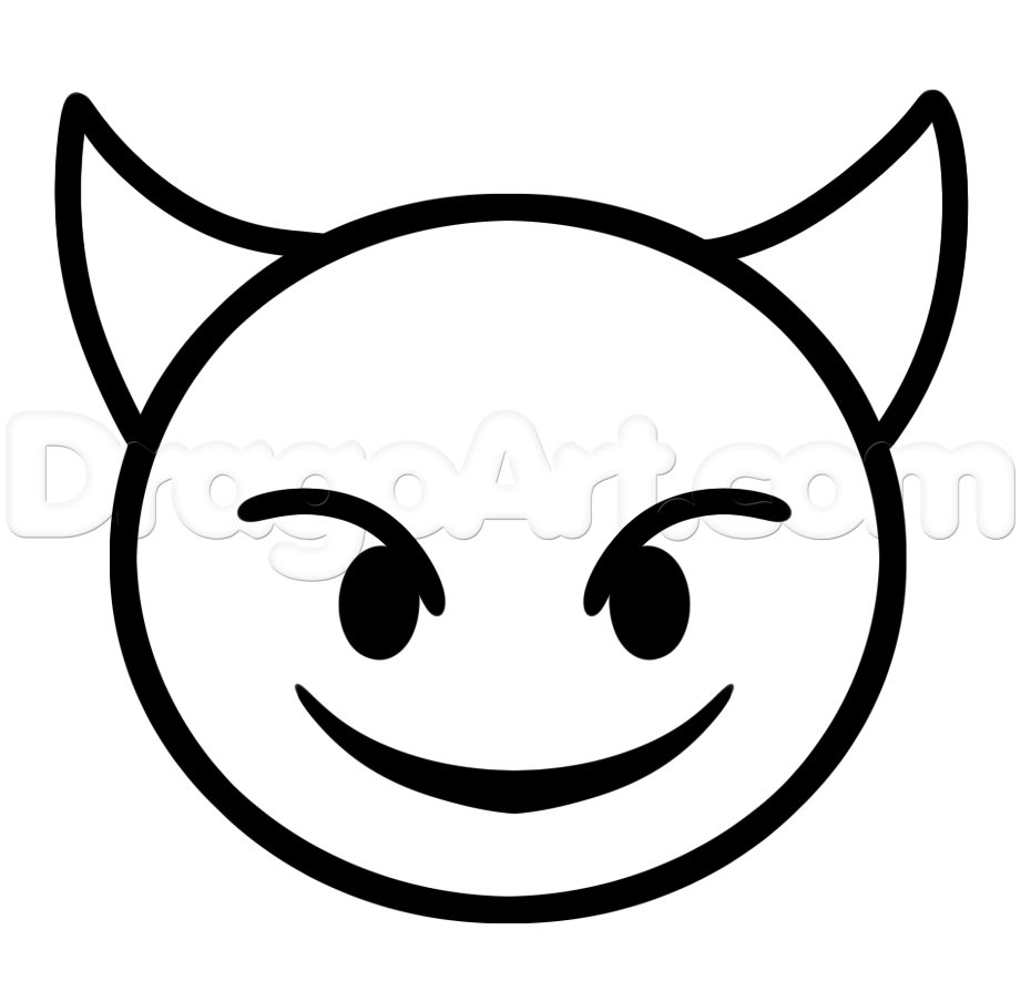Emoji Faces Devil Coloring Pages Arty stuff Pinterest