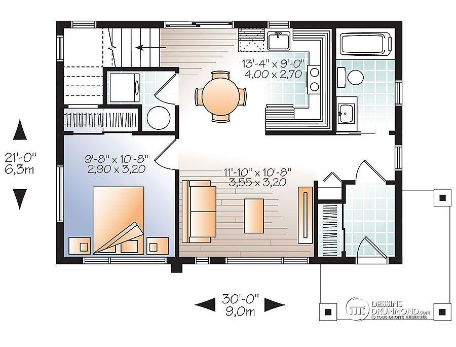 Détail du plan de Maison unifamiliale W1703 House plans - plan de maison design