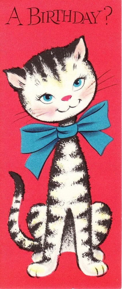 1950s Striped Cat Birthday Card Birthday Cats Pinterest