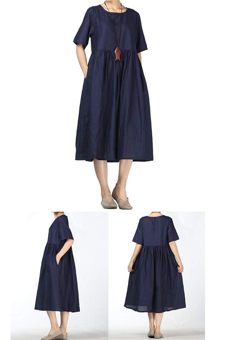 436543aa2d Mordenmiss Women s Linen Cotton Dress Summer Midi Dresses Pockets ...