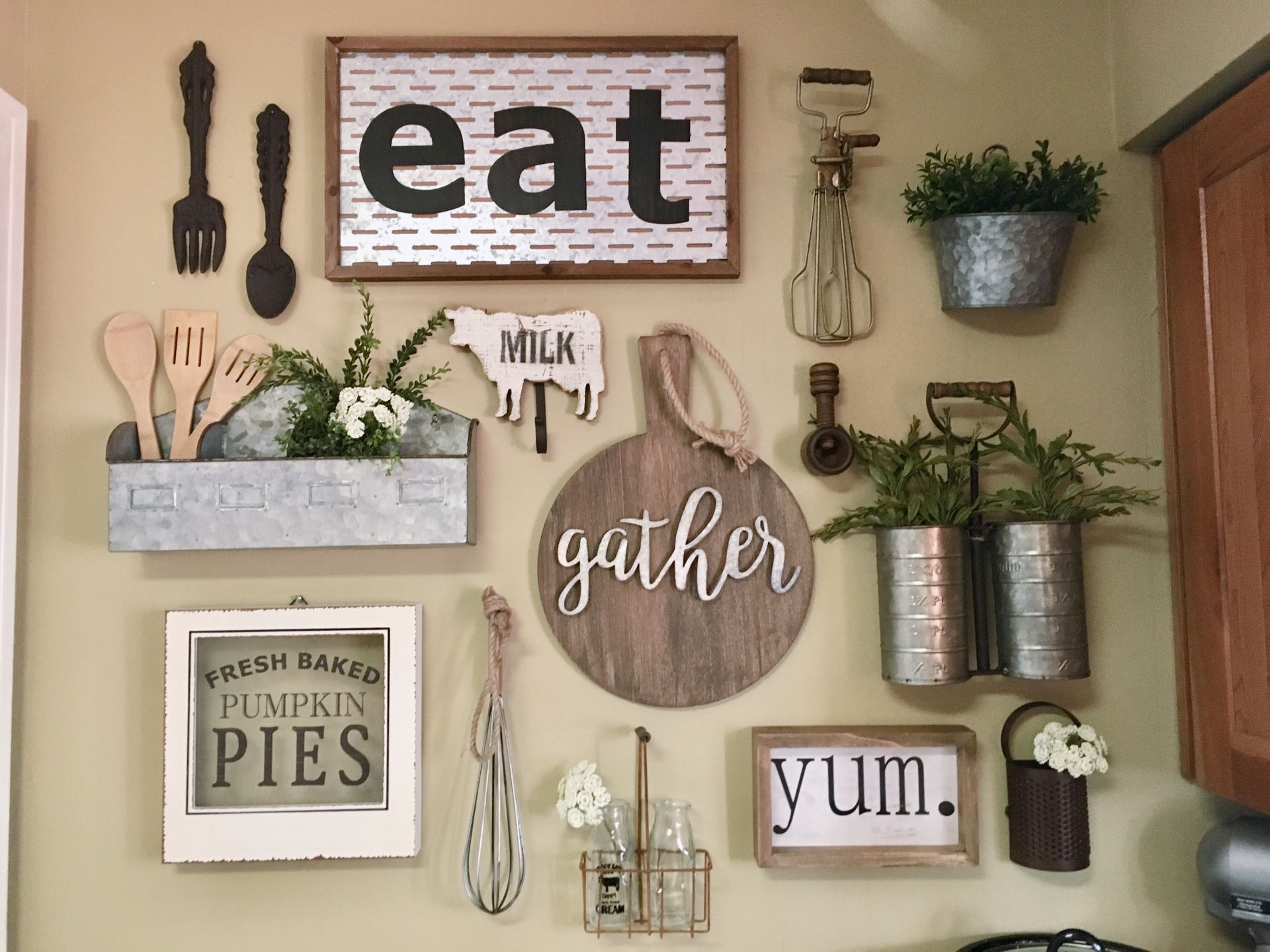 My kitchen gallery wall #KitchenDecor #GalleryWall #Farmhouse #Decorating #WallDecor #HobbyLobby 38 Dreamiest Farmhouse Kitchen Decor and Design Ideas to Fuel Your Remodel #farmhouse #farmhousestyle #farmhousestorage #farmhousedecor #rustichome #rusticdecor #rustichomedecor ...on or natural stones such as granite limestone and soapstone. A rustic style kitchen can be a really beautiful and attractive feature in your home ...mplement everything from bear mugs to bear placemats to bear towel holde