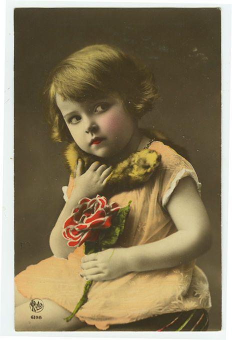1920's Child Children DARLING LITTLE GIRL tinted photo postcard