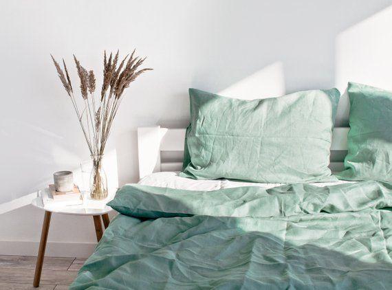 California Coast Linen Duvet Cover Green Light Green Sage Etsy Linen Duvet Covers Bed Linen Sets Duvet Covers