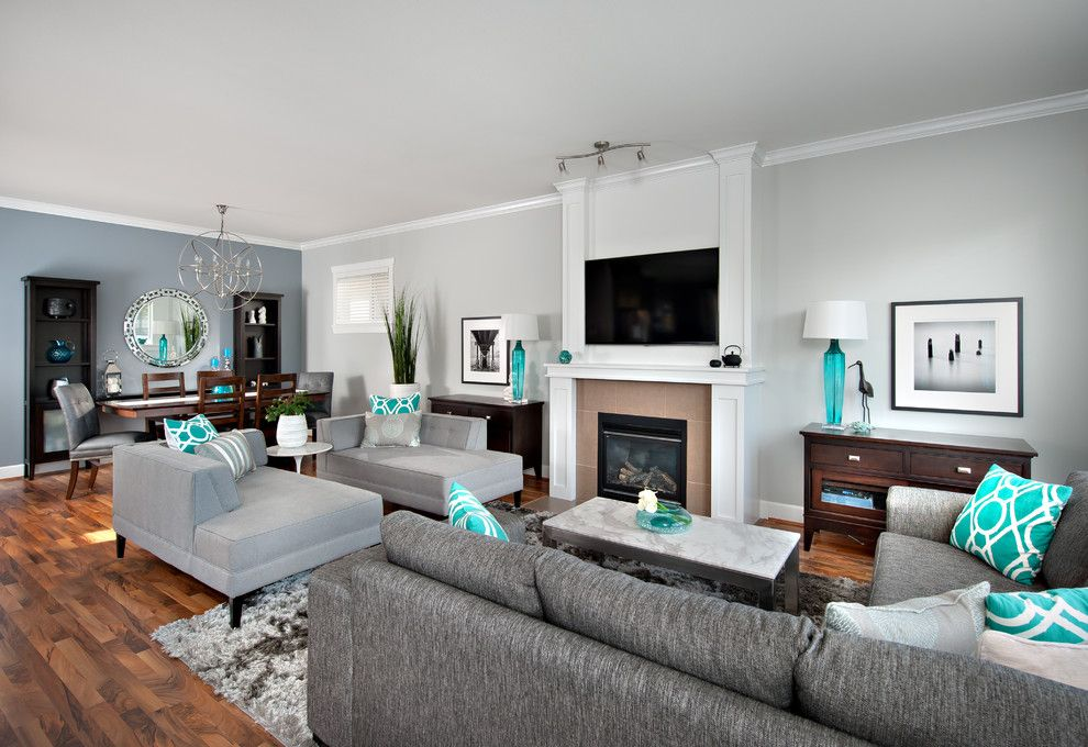 Blue Grey Color Scheme In Family Room Contemporary With Chairs Aqua Accent Color Living Room Turquoise Contemporary Family Rooms Living Room Grey #turquoise #living #room #walls