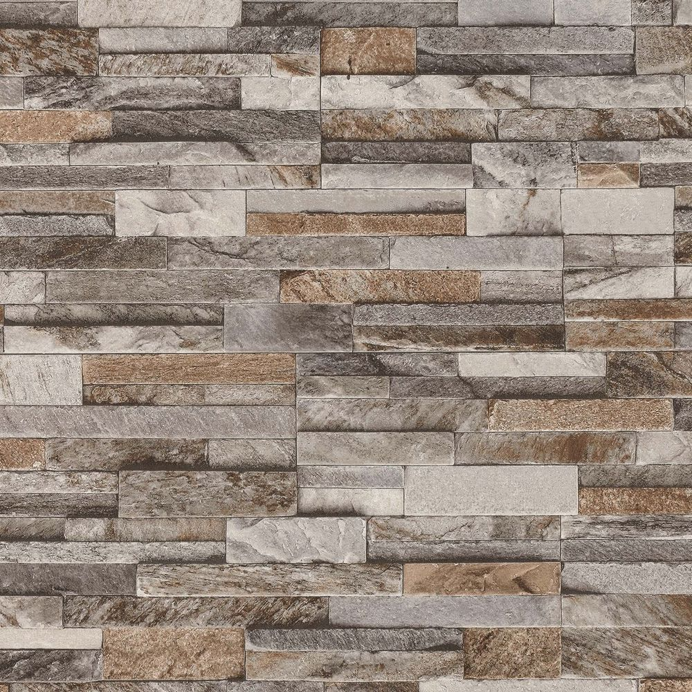 Brick Wall Stone Brown Beige Grey Slate Tile Feature Wallpaper 42106 10