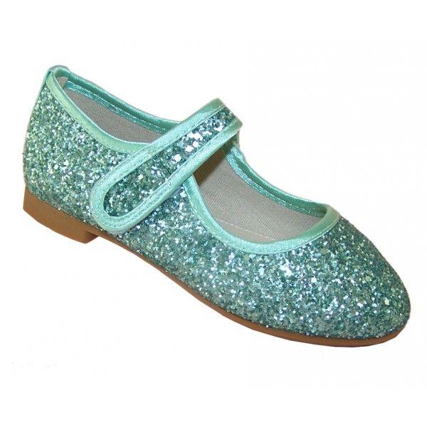 38d2033747a  La Ballerina  girls green glitter occasion shoes.