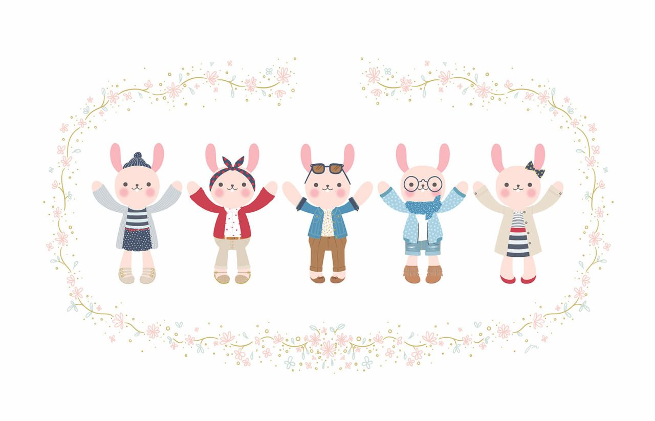 Bunny Babies! I love girl's fashion! These little bunnies' outfits are inspired…