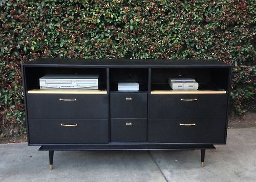 Midnight Black And Gold Mid Century Modern Media Console