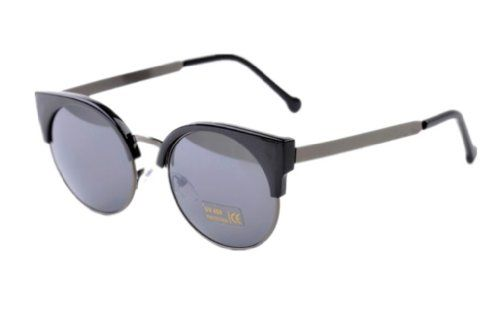 Women UV400 Vintage Summer Retro Round Sunglasses Metal Cat Eye Oculos Shades (Black Arm)