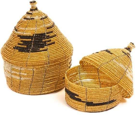 Black Gold Glass Beaded Nesting Hut Baskets The Group That