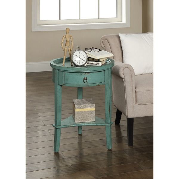 Treasure Trove Accents Waves Texture Blue One Drawer Accent Table