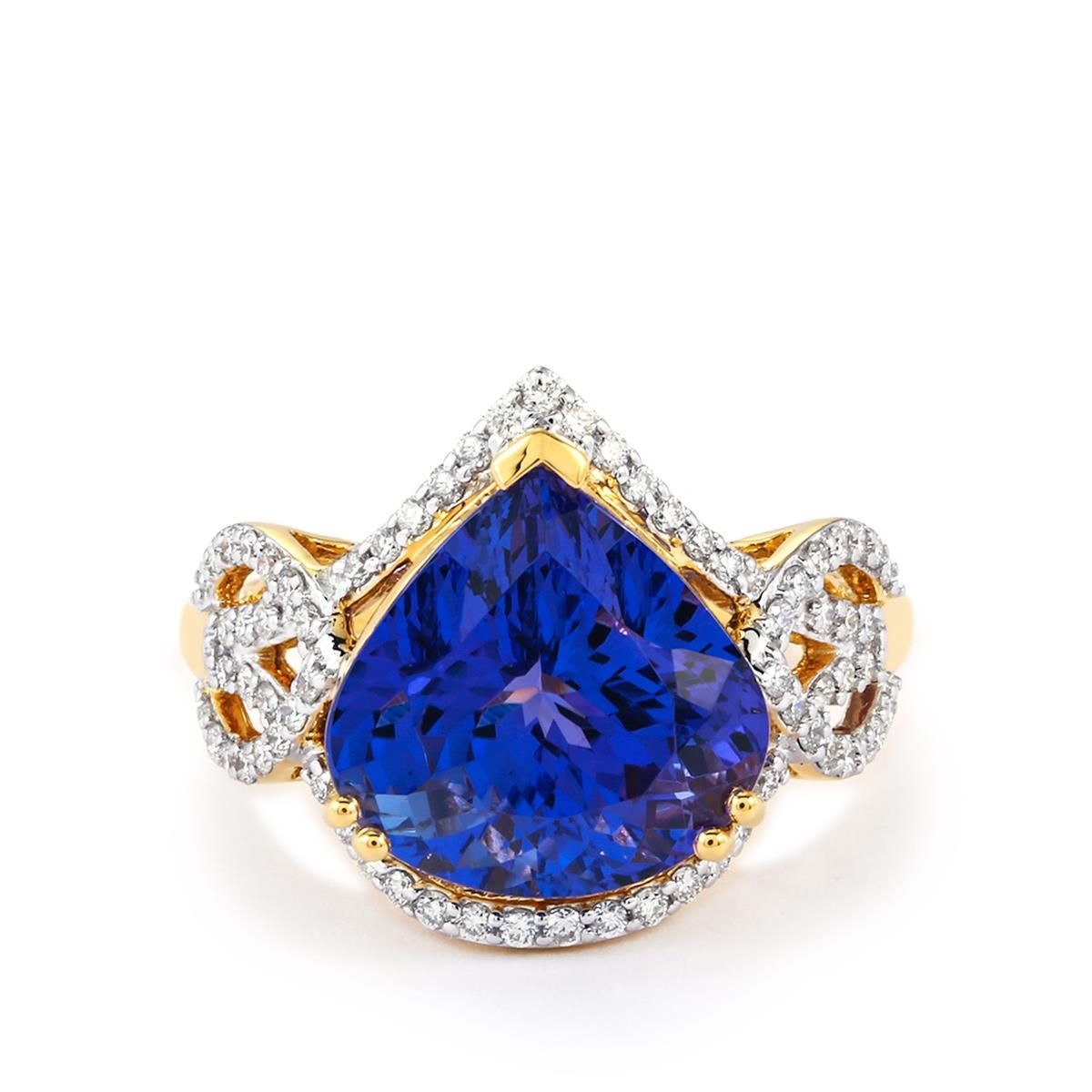A classically designed Ring from the Lorique collection, made of 18k Gold featuring 7.60cts of charming AAA Tanzanite with dazzling Diamonds.