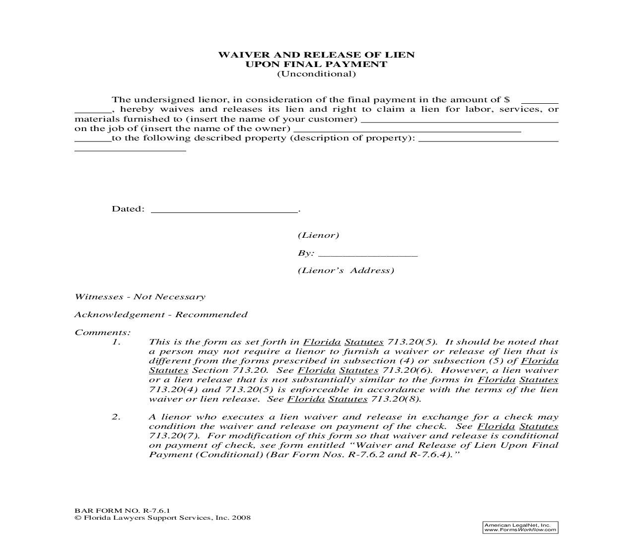 This Is A Florida Form That Can Be Used For Construction Documents