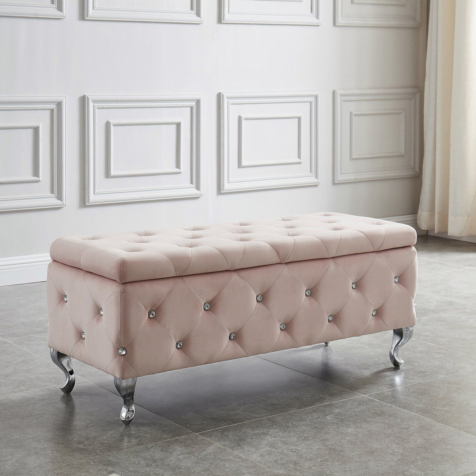 Nspire Velvet Storage Bench With Crystals In 2020