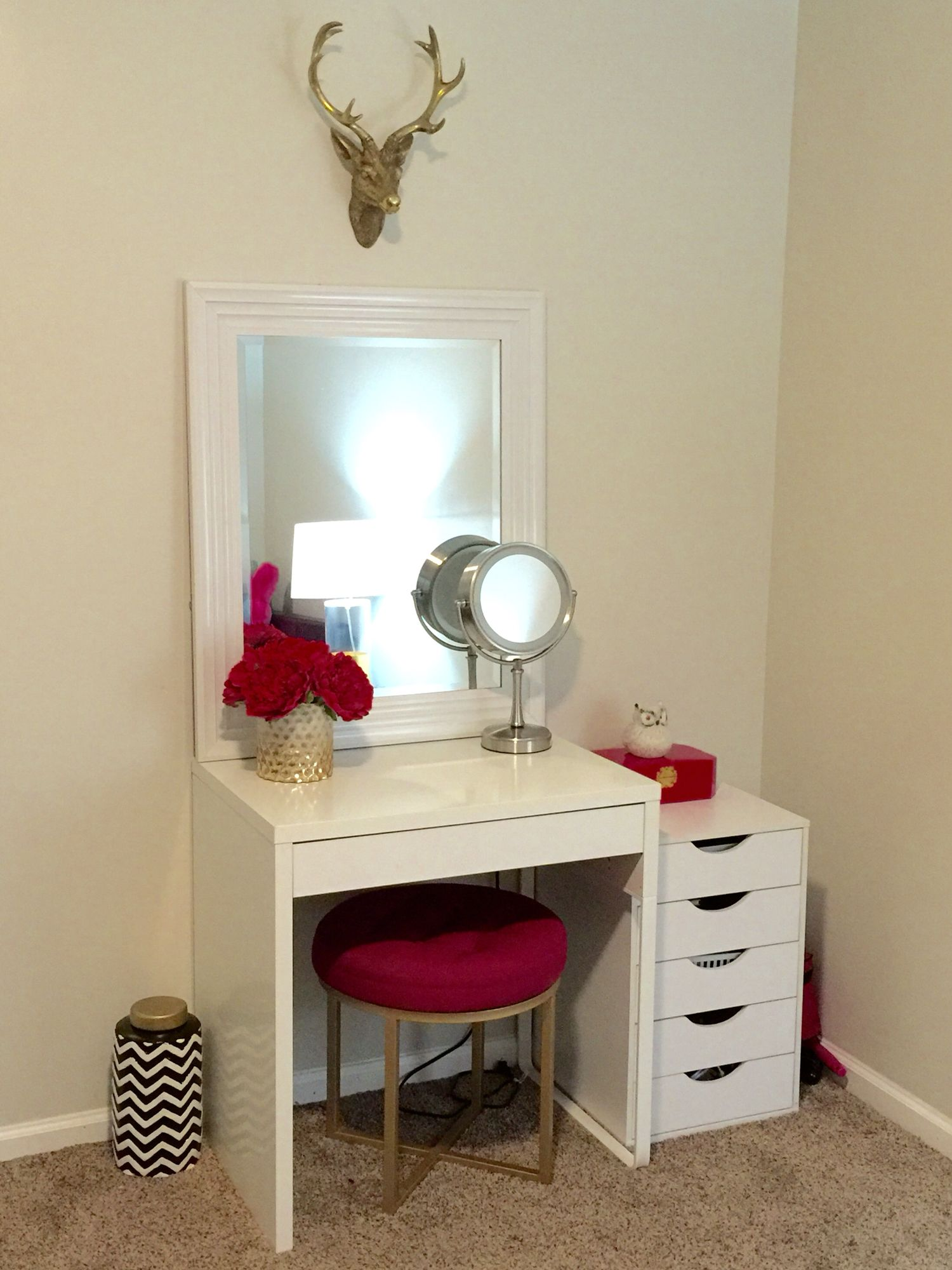 Amazing Makeup Vanity Ikea Micke Desk Target Threshold Pink Ottoman
