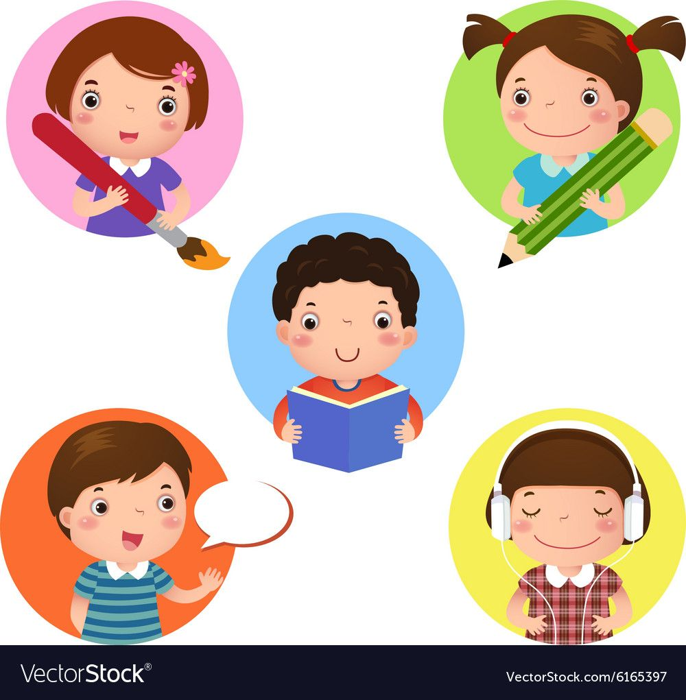Illustration Set Of Kids Mascot Learning Icon For Writing Drawing Reading Speaking And Listening Download A Fre Writing Cartoons Kids Clipart Writing Icon