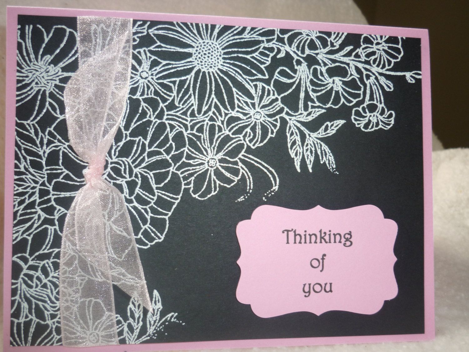 Embossed thinking of you by Wrightcards on Etsy