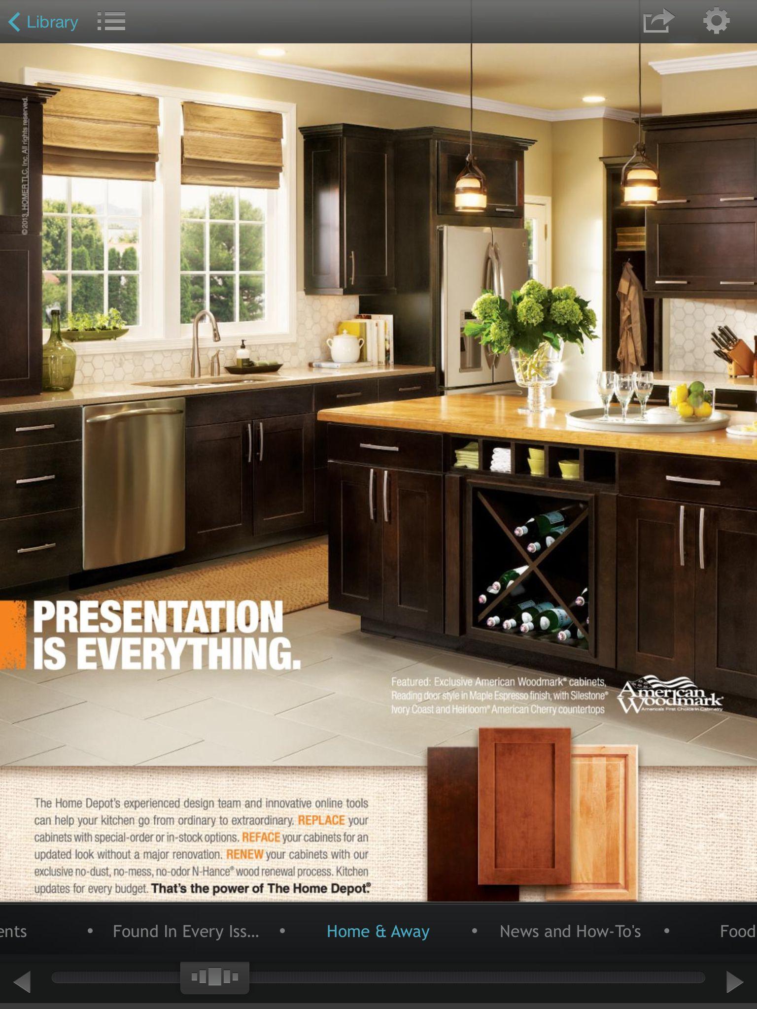 Love this kitchen! | Kitchen, American woodmark cabinets, Home