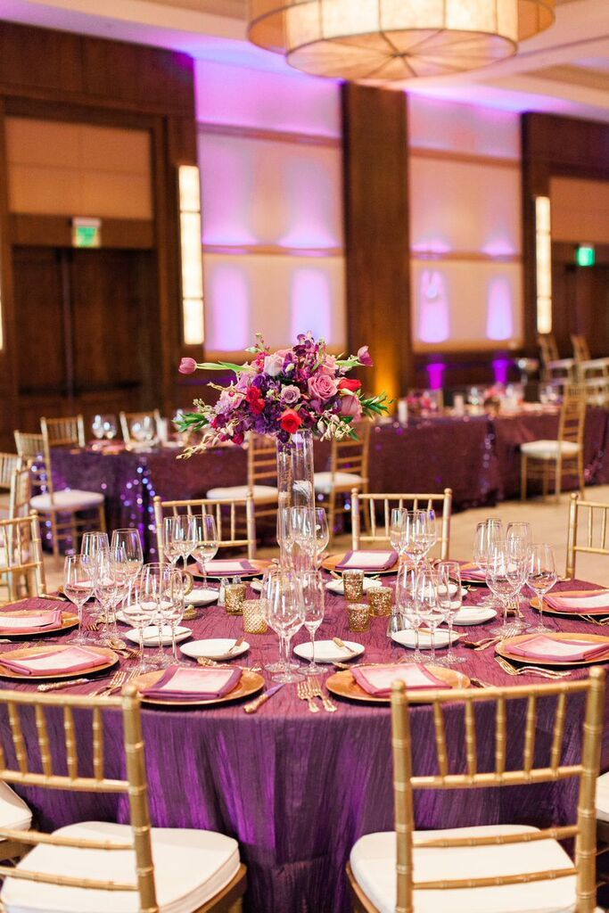 Ritz Carlton Dove Mountain Gold and purple glamorous wedding