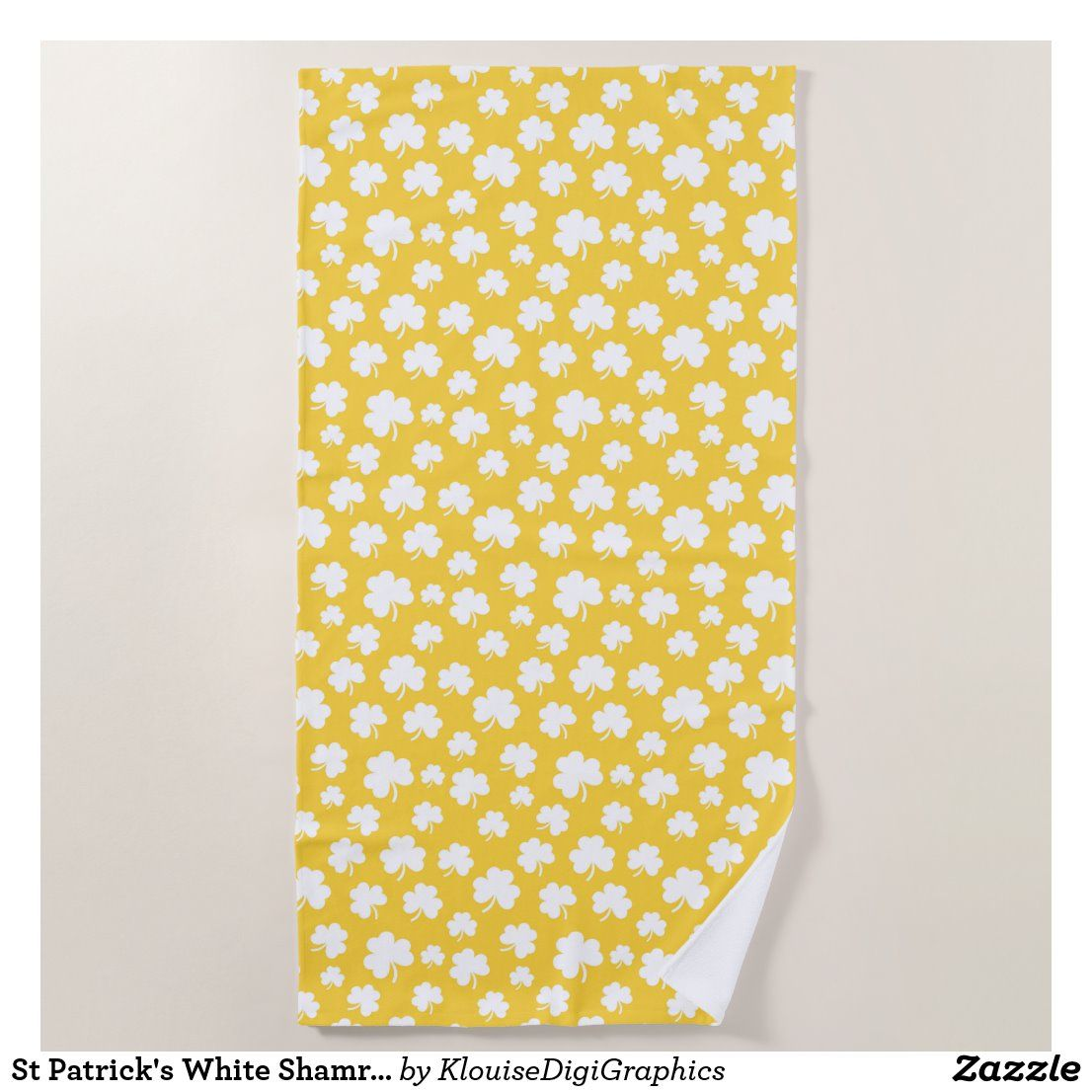 St Patrick S White Shamrocks On Yellow Gold Beach Towel Zazzle