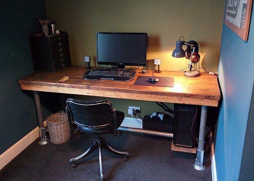 Hand Made Desk handmade rustic industrial scaffold board plank computer office
