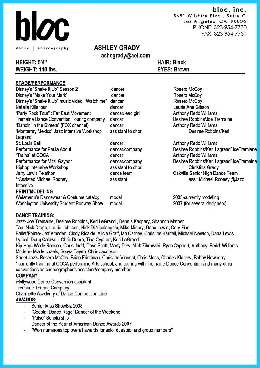 Awesome The Best And Impressive Dance Resume Examples Collections