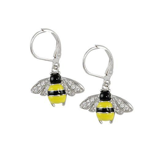 Rhodium Plated Leverback Earring with 1 Bumble Bee with 10 14mm round white CZs -- Want to know more, click on the image. Note:It is Affiliate Link to Amazon.