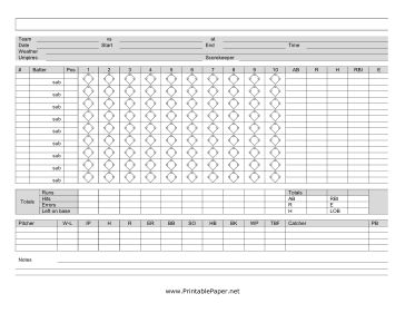 This Baseball Scoresheet Has Space To Keep Track Of Runs Hits