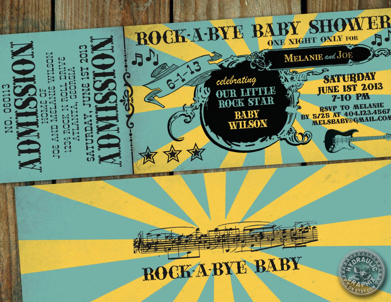 Rock n Roll Baby Shower Invitation Ticket, RockaBye Baby Invitation ...