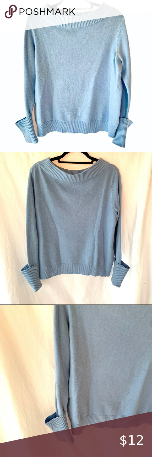 Sky Blue Sweater Sky Blue Sweater  Lightweight light blue sweater with scoop neck neckline. Ribbed cuffs and neckline. Great condition, fabric shows no pilling, pulls, stains or holes. Just a lovely blue charming sweater perfect for spring! Size medium  #sweater #vintage #ribbed #scoopneck #cuffs tags aeropostale aerie american eagle aeo vintage vtg 1980s 1990s forever 21 pacsun kendall kylie urban outfitters free people garage brandy melville urban renewal reformation zara abercrombie and fitch