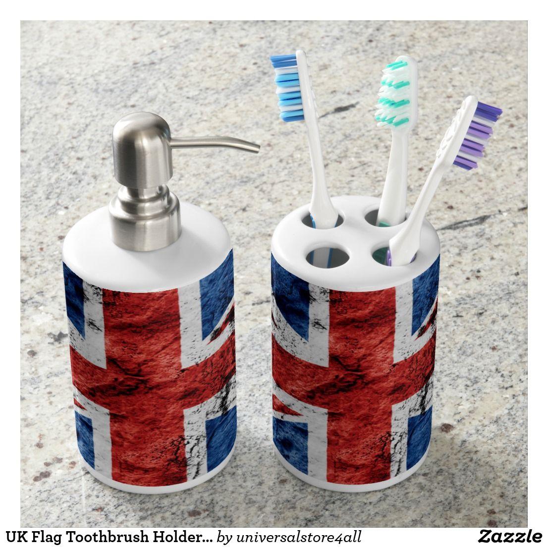 UK Flag Toothbrush Holder and Soap Dispenser Set | Uk flag and ...