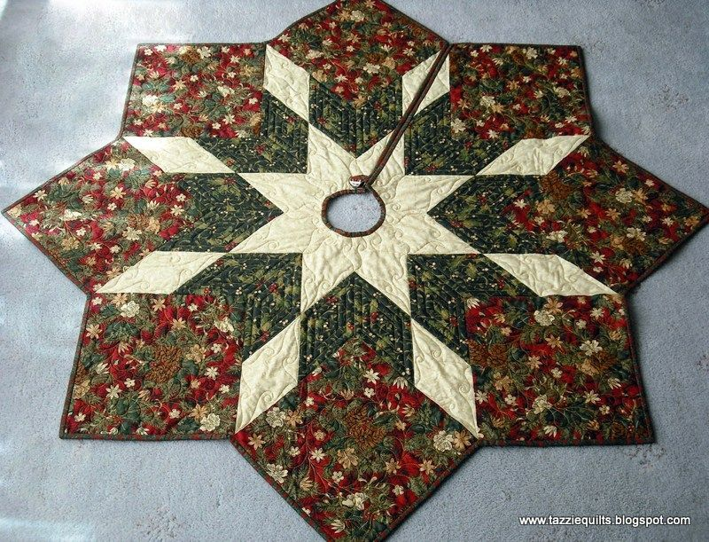 quilted christmas tree skirt pattern tazzie quilts - Christmas Tree Skirt Pattern