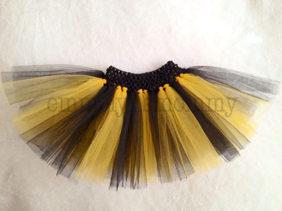 SALe Black and Yellow Tulle Tutu Bumblebee Honey Bee for newborn or infant or toddler Halloween Pittsburg Steelers by EmmelynsMommy on Etsy